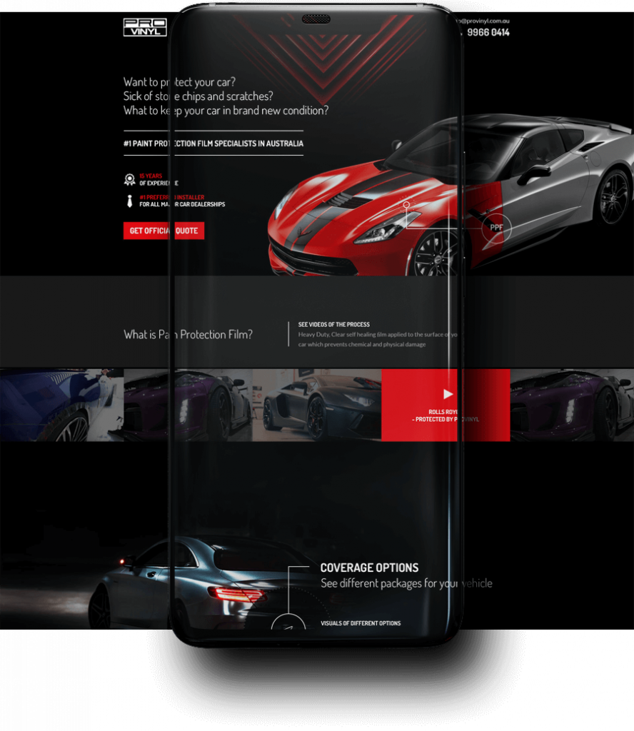 Landing Page for Paint Protection Film